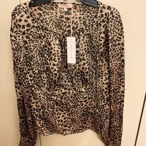 Rebecca Taylor Size 2 Small Leopard Shirt with Tag